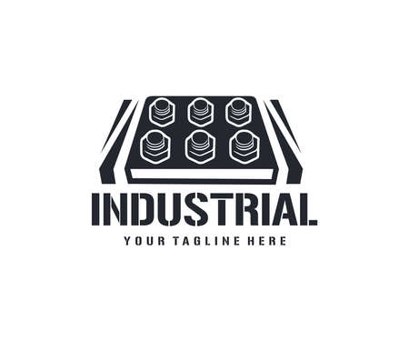 Industrial, bolts and nuts, metal, logo design. Screws, steel, workshop and metallurgy, vector design and illustration