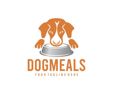 Dog meals, dog food, dog and bowl of feed, logo design. Pet, animal, pet shop and pet care, vector design and illustration