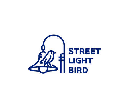 Street light pole line art logo design. Bird sitting on lamp post vector design. Column street lighting