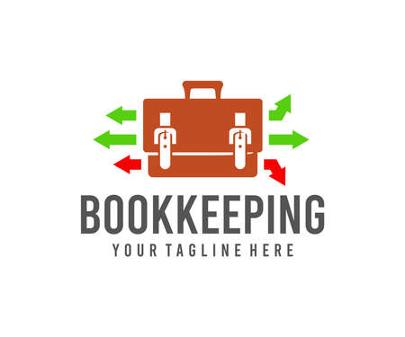 Bookkeeping, portfolio, briefcase and bag, logo design. Business, suitcase, accounting and finance, vector design and illustration