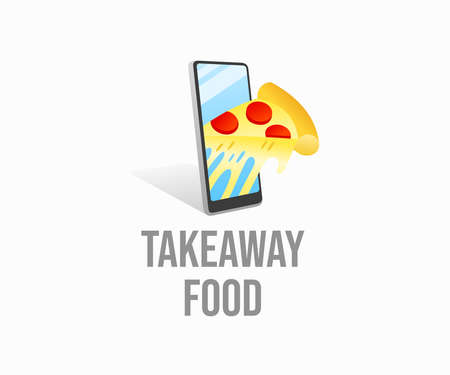 Online food ordering, takeaway and food delivery, logo design. Smartphone and slice of pizza, meal, food and fast food, vector design and illustration