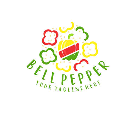 Bell pepper, red, yellow, green and seed, logo design. Vegetables, food, cooking and kitchen, vector design and illustration