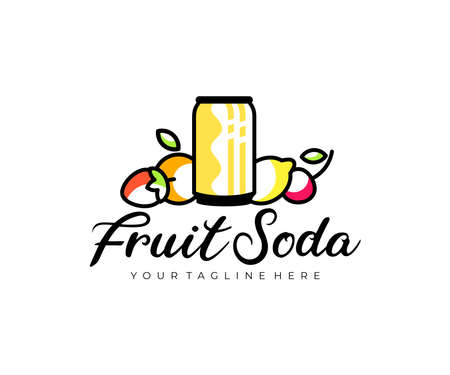 Can of fruit soda, fruit, strawberry, orange, lemon and cherry, logo design. Drink, food, fruit juice and soft drink, vector design and illustration