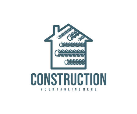 Steel reinforcement, metal industry, home and construction, logo design. Steel rebar, steel industry, steel reinforced concrete and repair, vector design and illustration Ilustracja