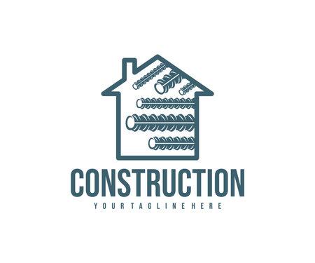 Steel reinforcement, metal industry, home and construction, logo design. Steel rebar, steel industry, steel reinforced concrete and repair, vector design and illustration Ilustração