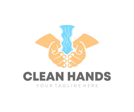 Washes his hands with water, clean hands, logo design. Hand disinfectant, hygiene, hand sanitizer and hand washing, vector design and illustration Ilustracja