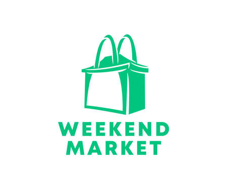Weekend market, shopping, bag and tent, logo design. Purchases, buyings, retail, shopping bag or handbag, vector design and illustration