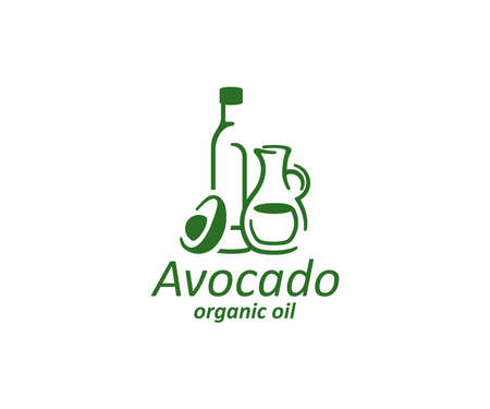Bottle with oil and fresh avocado half logo design. Glass jug with avocado oil vector design, logotype