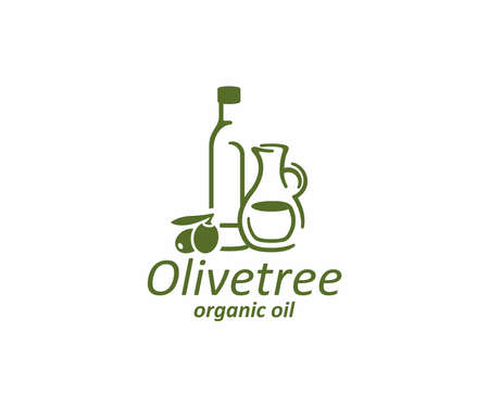 Olive oil logo design. Glass bottle and jug with olives vector design. Olives branch and extra virgin natural organic oil logotype