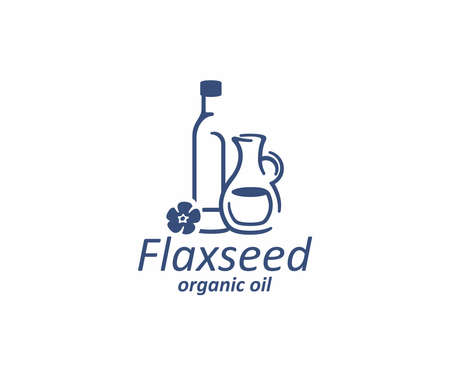 Essential oil of linseed in the glass bottle and jug logo design. Flax seed oil and flax flower vector design. Flaxseed logotype Ilustracja