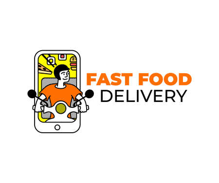 Food delivery by scooter in smartphone, sushi, pizza and burger, home delivery, logo design. Transport, food and online shopping, vector design and illustration Ilustracja