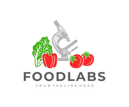 Food laboratory, microscope, tomato, bell pepper and lettuce salad, logo design. Food technology, vegetables, food and meal, vector design and illustration