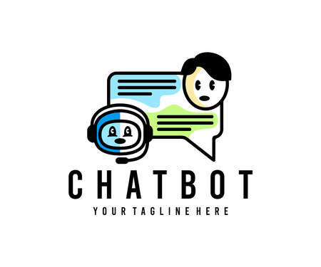 Man chatting with chat bot, chat bot, chatting with chatbot, logo design. Support service bot, help service, artificial intelligence or AI and customer support, vector design and illustration
