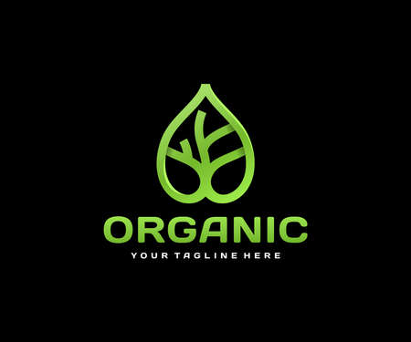 Abstract linear leaf with tree design. Nature green tree vector design. Eco organic plant logotype