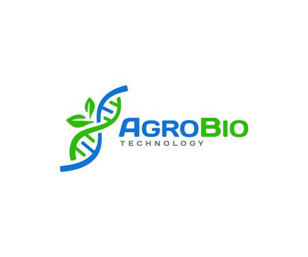 Agricultural biotechnology logo design. Biology genetics vector design. DNA helix and leaves logotype