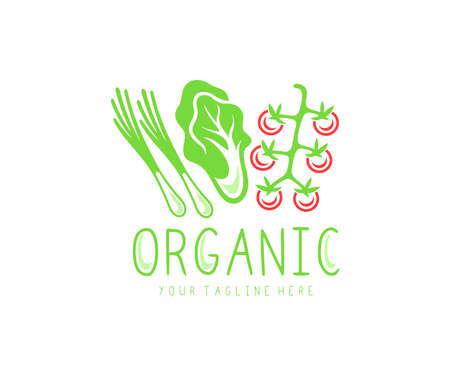Organic vegetables, organic food, garden produce, eating and dieting, logo design. Meal, tomato, lettuce salad, green onion, farmer market and raw vegetables, vector design and illustration