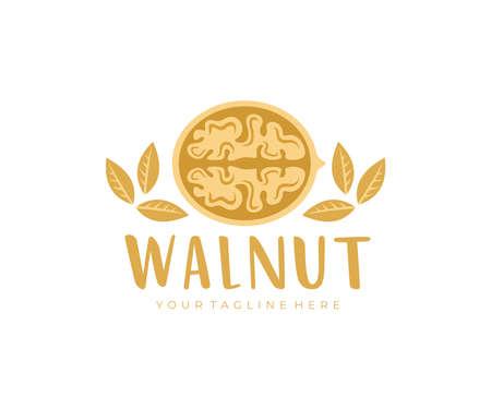 Walnut, cracked walnut, walnuts kernels, logo design. Nut, food, plant and leaves, vector design and illustration