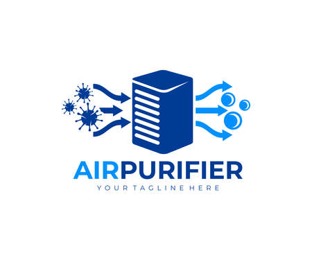 Air purifier for filter and cleaning removing dust and virus, fresh air,  design. Air conditioner, air filtration and purification for virus protection and particles, vector design and illustratio