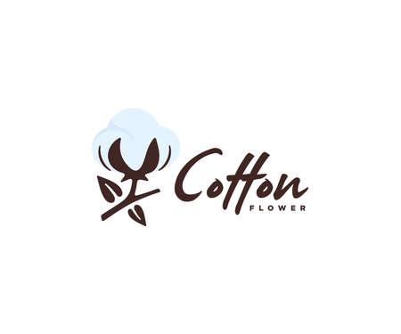 Cotton flower branch  design. Cotton blossom vector design. 100% cotton Ilustração