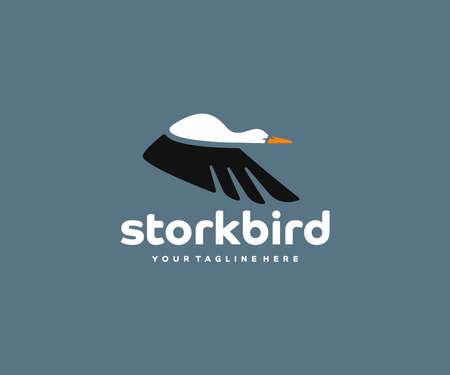 Flying stork logo design. Flying bird vector design