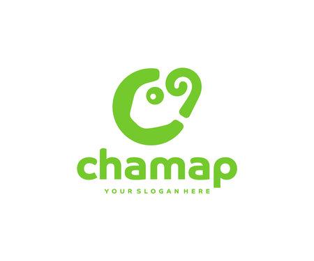 Chameleon lizard logo design. Chameleon map point vector design. Green lizard map marker logotype