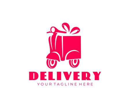 Delivery, motorcycle or scooter, gift and box, logo design. Transport, food delivery and delivery of goods, vector design and illustration