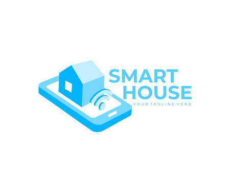 Smart home or smart house controlled by smartphone or mobile phone via app,  design. Internet of things home automation system technology, iot, wireless connections, and wifi, vector design