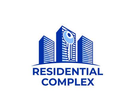Residential complex, skyscraper, real estate and key, logo design. Construction, building, property and mortgage, vector design and illustration Ilustração