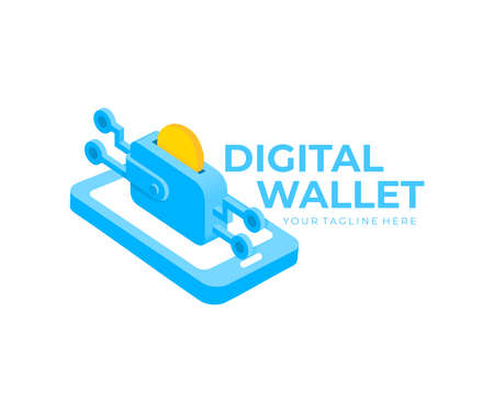 Digital wallet, coin, smartphone, e-commerce and payment, logo design. Blockchain technology, finance and mobile banking, vector design and illustration