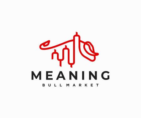 Bull market, financial investment logo design. Stock Market, forex trading graph vector design. Financial chart and bullish market logotype