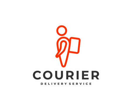 Delivery man courier with backpack logo design. Map point person delivery express vector design. Logistics and shipping logotype