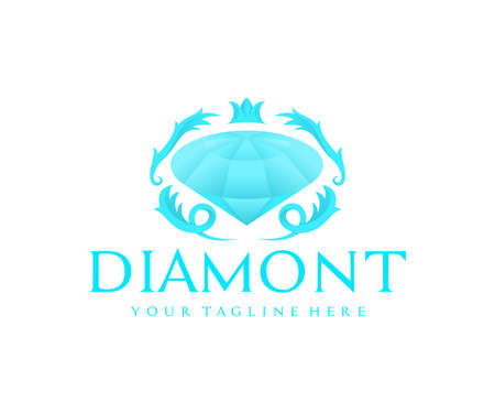 Diamond, brilliant, gemstone and jewelry, logo design. Fashion, beauty, style and accessories, vector design and illustration