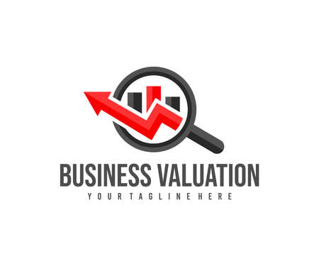 Business valuation with magnifying glass and chart up logo design.
