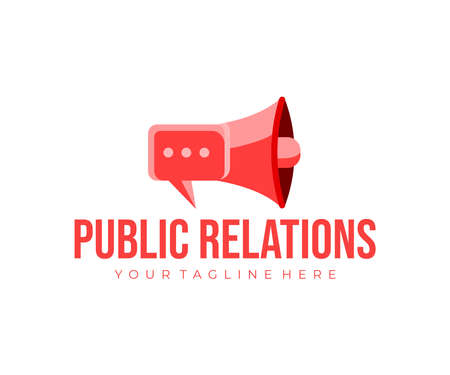 Public relations with megaphone logo design. Public opinion management, social interactions, target audience and communications vector design and illustration