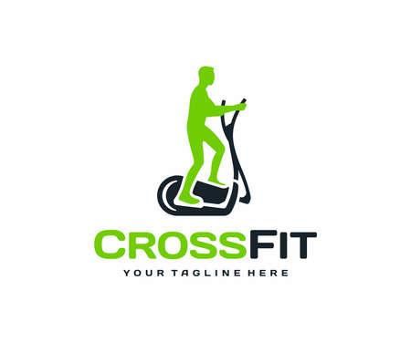 Crosstrainer workout logo design. Elliptical trainer with running man vector design. Fitness training on the orbitrack logotype Ilustração