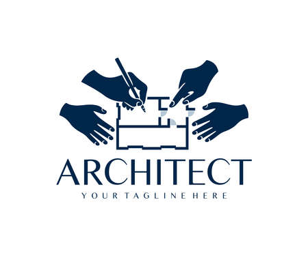 Architects, engineers, contractor, holding pen and pointing at blueprint, logo design. Architectural construction house and sketch plan, building and home, vector design and illustration
