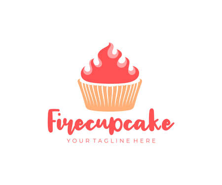 Cupcake with fire, sweet food, muffin and confectionery, logo design. Confection, pastry, sweet-shop and pastry-shop, vector design and illustration