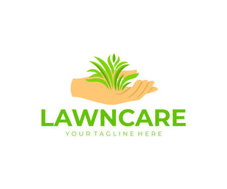 Lawn care, hand or palm holds the grass, logo design. Landscape design, landscaping, planting of greenery and floriculture, vector design and illustration