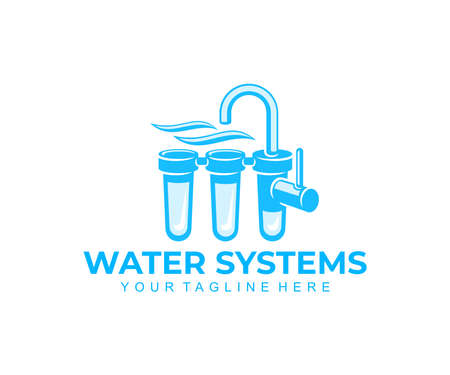 Water filter, drinking water systems and water treatment, logo design. Filtering, filtration or purification, plumbing, water tap, filtered or purified liquid, vector design and illustration Ilustração