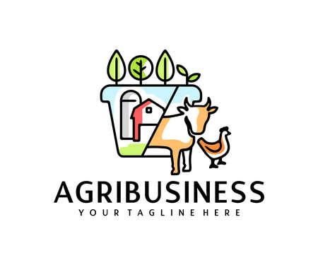 Agribusiness, silos or storage, barn, plants, cow and chicken, design. Agriculture, farm, farming, garden and animal husbandry, vector design and illustration Ilustração