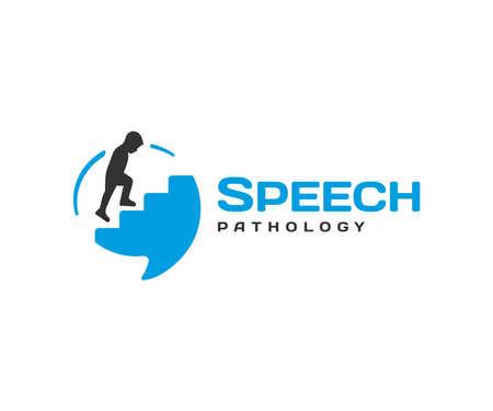 Speech pathology design. Speech therapy vector design. Ð¡hild climbing stairs in speech bubble logotype