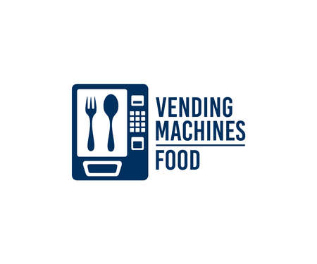 Vending machines on sale of food and snacks, logo design. Buying food in packaging and food packs, automatic selling or sell, consumption and technology, vector design and illustration Ilustração