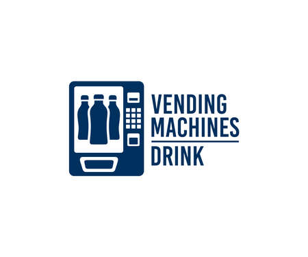Vending machines on sale of drinks, bottled beverage and juice, logo design. Buying drinks and soda, automatic selling or sell, consumption and technology, vector design and illustration