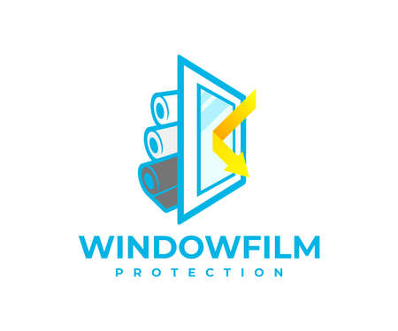 Protection window film from solar and shockproof,  design. Safety, window, reflected sunbeam or sunlight and rolls with protective film, vector design and illustration