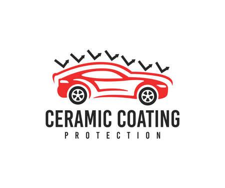 Car service, car, ceramic coating protection and automobile, design. Automotive, ceramic coat, paint protection and car detailing, vector design and illustration Ilustração