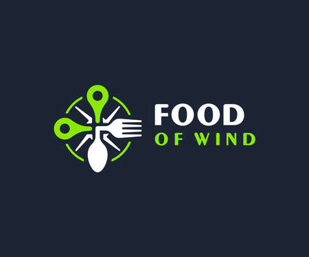 Food point design. Rose of wind with map marker and spoon, fork vector design. Food location