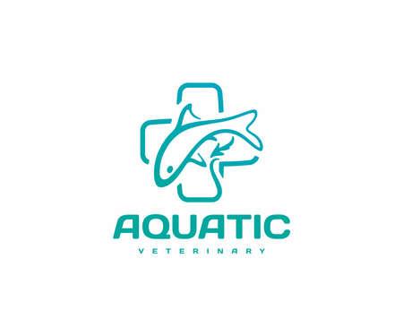 Aquatic and fish veterinarian . Aquatic animal medicine, pet fish hospital vector design. Aquatic animal health and disease Ilustração