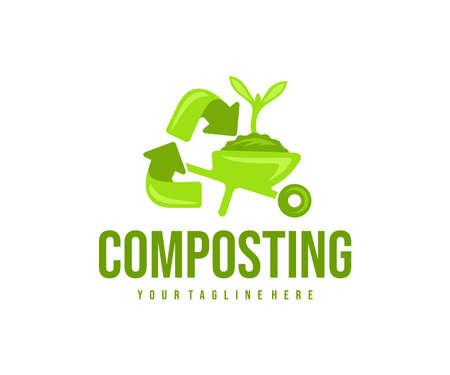 Composting, recycling, wheelbarrow with soil and sprout,  design. Agriculture, farming, compost and composted soil cycle, vector design and illustration Ilustração