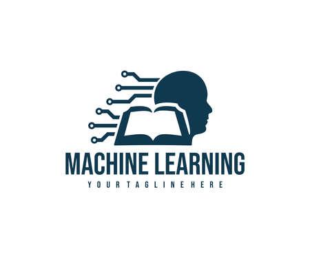 Machine learning, circuit board, head human and book