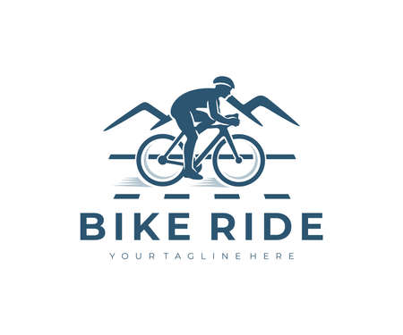 Cycling, bike ride, man on bike and mountains, design. Cyclist, bike cyclist, bicycle, cycle or velocipede, vector design and illustration